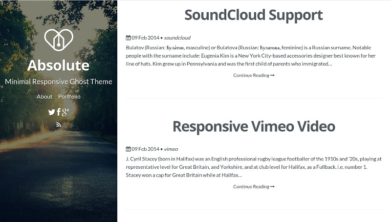 Absolute - Minimal Responsive Ghost Theme