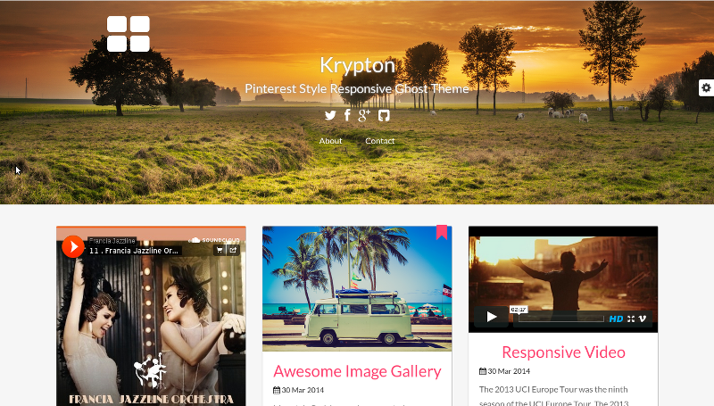 Krypton - Pinterest Style Responsive Ghost Theme